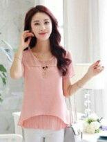 韓版圓領百褶短袖雪紡-女裝,內衣,睡衣,女鞋,洋裝