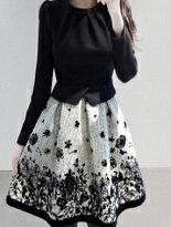 假兩件拼接長袖印花洋-女裝,內衣,睡衣,女鞋,洋裝