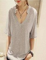 美麗大街 韓版百搭素色V領短袖T恤上衣 275$