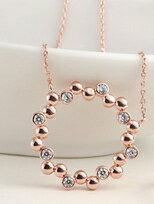 玫瑰金純銀鑲鑽項鍊 買項鍊送戒指