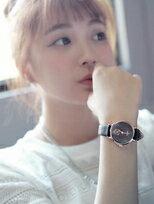 簡約刻度秒針圈鱷魚紋皮革錶帶手錶
