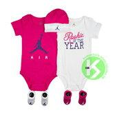 NIKE AIR JORDAN 5 PIECE INFANT SET 白 桃紅 喬丹 嬰兒服 包屁衣 嬰兒帽 嬰兒襪 五件組 最佳滿月禮 AJ