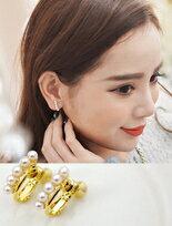(特賣)ECO安珂.優雅秀氣珍珠直線排列 夾式耳環