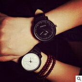磨砂皮帶男女情侶手錶