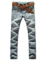 顯瘦修身窄版作舊抽鬚單寧工作長褲
