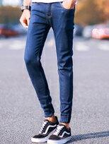 ★買一送一★修身窄版原色單寧縮口褲牛仔長褲