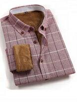 保暖絨毛純棉小格紋設計立領修身長袖襯衫