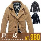 英倫型男皮保暖翻領單排釦大衣西裝外套