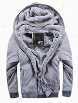 素色螺紋鬆緊袖口拉鍊內裡加絨刷毛連帽外套