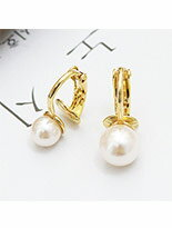 個性溫潤大小珍珠設計 夾式耳環