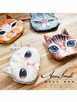 貓咪印花背面絨毛零錢收納小包