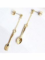 日本Lilou 甜蜜味蕾叉子與湯匙耳環