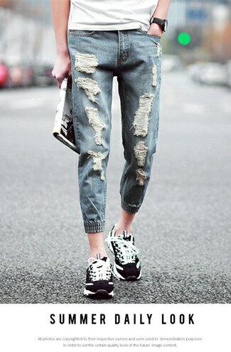 韓流復古刷色破壞束口九分褲-女裝,內衣,睡衣,女鞋,洋裝