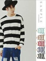韓國製寬版橫紋大學T-女裝,內衣,睡衣,女鞋,洋裝