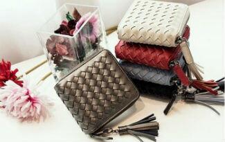 流蘇編織方形短夾-精品,包包,行李箱,配件,名牌