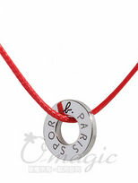 agnes b. sport b.銀色圓圈造型綿繩項鍊紅繩