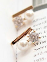 幾何金屬下接 璀璨奧地利水鑽珍珠 高質感耳環