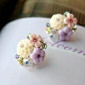 優雅配色花團耳環Lavender Bouquet pierces