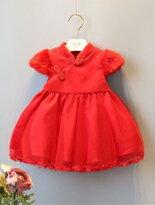 厚版童裝。小公主新年連身裙