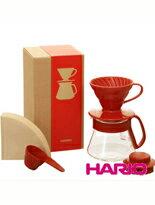 【HARIO】紅色濾杯咖啡壺組