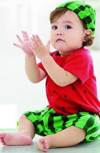 假扮玩具連身衣褲(附帽子)-紅色系(西瓜)-嬰兒,幼兒,孕婦,童裝,孕婦裝