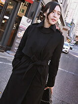 【Comico Korea】正韓肩章拚片腰綁帶毛呢長大衣