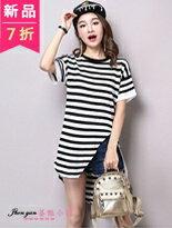 圓領條紋不規則T恤-女裝,內衣,睡衣,女鞋,洋裝
