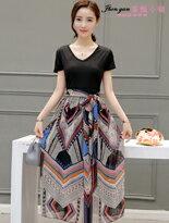 印花修身短袖連身裙-女裝,內衣,睡衣,女鞋,洋裝