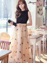 撞色拼接歐根紗連身裙-女裝,內衣,睡衣,女鞋,洋裝