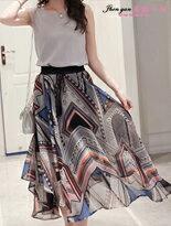 無袖上衣+印花長裙-女裝,內衣,睡衣,女鞋,洋裝
