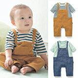 夏款條紋假兩件背帶短袖連身衣-嬰兒,幼兒,孕婦,童裝,孕婦裝