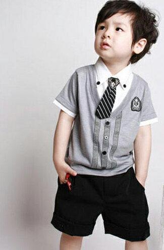 帥氣假兩件短袖+西裝褲-嬰兒,幼兒,孕婦,童裝,孕婦裝
