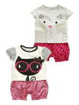 可愛貓咪短袖包屁衣爬-嬰兒,幼兒,孕婦,童裝,孕婦裝