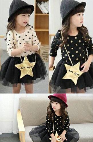 秋款星星拼紗公主連衣裙-嬰兒,幼兒,孕婦,童裝,孕婦裝