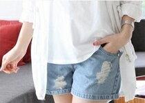 美腿畫現淺色刷破牛仔托腹褲-嬰兒,幼兒,孕婦,童裝,孕婦裝