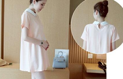 珍珠麻雪紡娃娃領連衣裙-嬰兒,幼兒,孕婦,童裝,孕婦裝