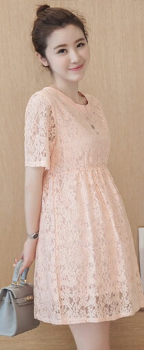 甜美短袖簍空勾花蕾絲娃娃裙-嬰兒,幼兒,孕婦,童裝,孕婦裝