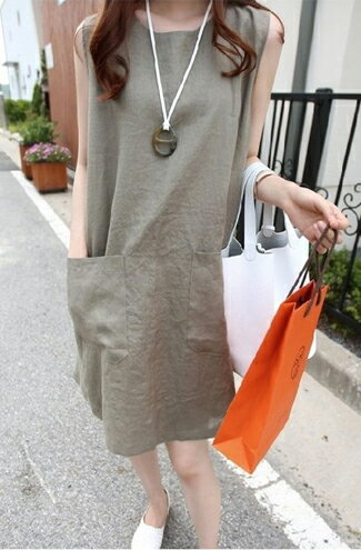 純色棉麻修身無袖孕婦連衣裙-嬰兒,幼兒,孕婦,童裝,孕婦裝