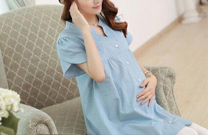 花瓣袖牛仔V領孕婦襯衫-嬰兒,幼兒,孕婦,童裝,孕婦裝