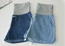 單寧綁帶孕婦牛仔短褲-嬰兒,幼兒,孕婦,童裝,孕婦裝