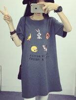 彩色卡通印花圓領T恤-女裝,內衣,睡衣,女鞋,洋裝