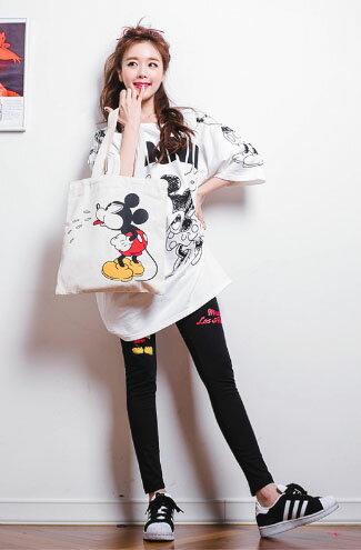 長版可愛卡通鼠印花圓領短袖T恤-女裝,內衣,睡衣,女鞋,洋裝