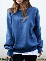 純色寬鬆圓領刷毛T-女裝,內衣,睡衣,女鞋,洋裝