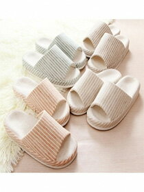棉麻厚盆底淺色條紋居家拖鞋-家具,燈具,裝潢,沙發,居家