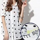 繡圓點反折袖雪紡襯衫-女裝,內衣,睡衣,女鞋,洋裝