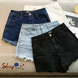 時尚條身高腰毛邊牛仔短褲-女裝,內衣,睡衣,女鞋,洋裝
