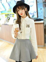 【PS Mall】長袖刺繡誘可愛貓咪襯衫