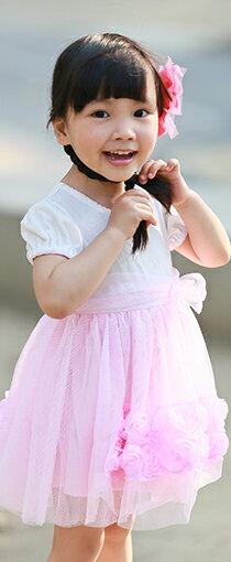 公主袖立體玫瑰紗紗裙-嬰兒,幼兒,孕婦,童裝,孕婦裝