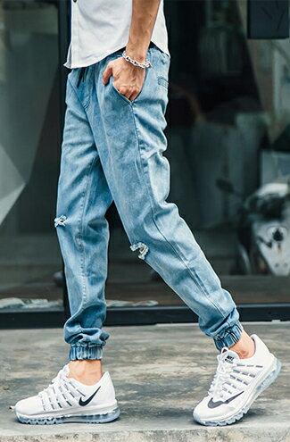 水洗高磅單寧束口牛仔褲-潮流男裝,潮牌,外套,牛仔褲,運動鞋