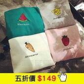 水果電繡寬鬆加絨長袖T恤